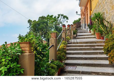 Steep Stairs In Riomaggiore, Italy