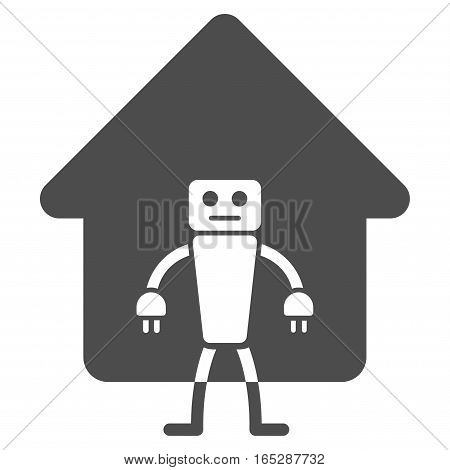 Home Robot vector icon. Flat gray symbol. Pictogram is isolated on a white background. Designed for web and software interfaces.