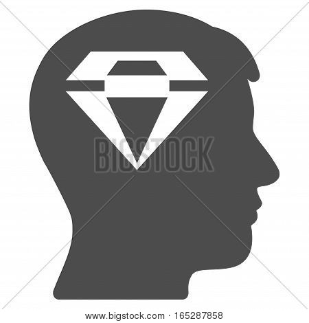 Human Head With Diamond vector icon. Flat gray symbol. Pictogram is isolated on a white background. Designed for web and software interfaces.