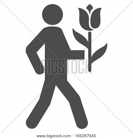Lover With Flower vector icon. Flat gray symbol. Pictogram is isolated on a white background. Designed for web and software interfaces.
