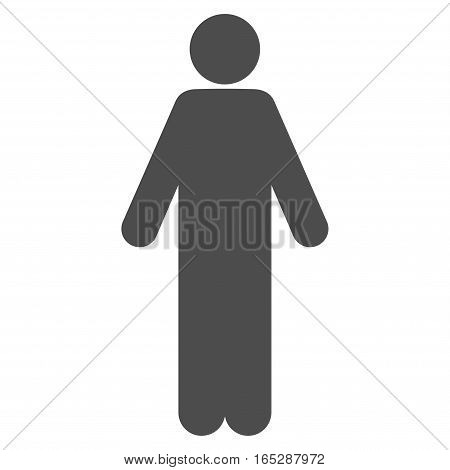 Male vector icon. Flat gray symbol. Pictogram is isolated on a white background. Designed for web and software interfaces.