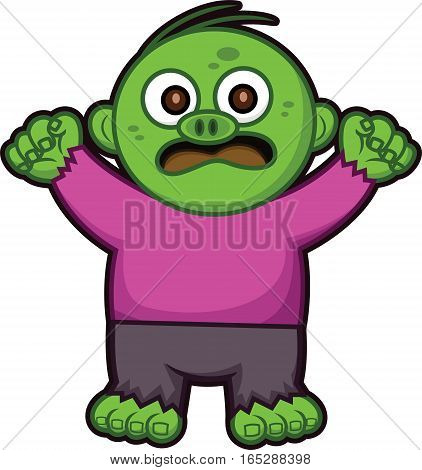 Angry Little Zombie Vector Cartoon Illustration Isolated on White