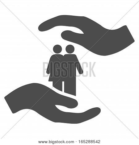 People Care Hands vector icon. Flat gray symbol. Pictogram is isolated on a white background. Designed for web and software interfaces.