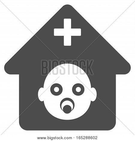 Prenatal Hospital vector icon. Flat gray symbol. Pictogram is isolated on a white background. Designed for web and software interfaces.
