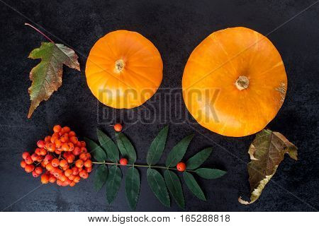 autumn composition with pumpkin and Rowan berries. Top view