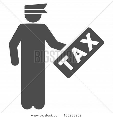 Tax Officer vector icon. Flat gray symbol. Pictogram is isolated on a white background. Designed for web and software interfaces.