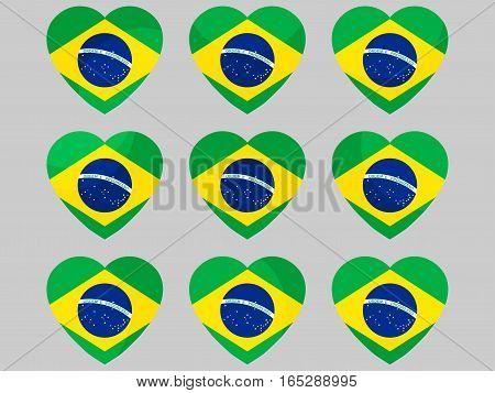 Heart Icons With The Flag Of Brazil. I Love Brazil. Vector Illustration.