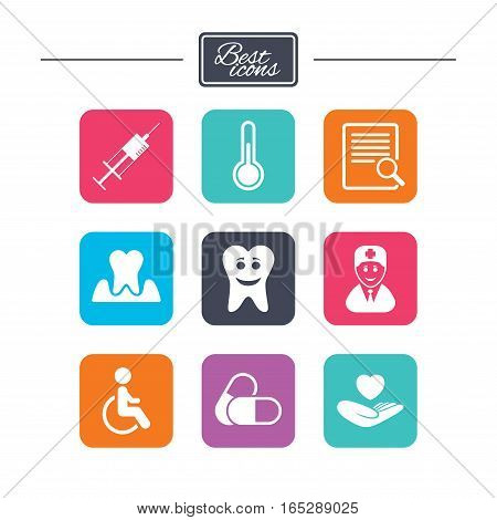 Medicine, medical health and diagnosis icons. Capsules, syringe and doctor signs. Tooth parodontosis, disabled person symbols. Colorful flat square buttons with icons. Vector