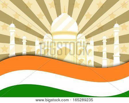 26 January Republic Day India. Celebration Poster With Flag And Taj Mahal. Vector Illustration