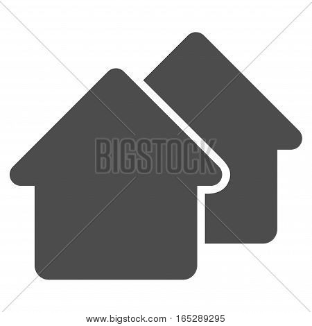 Village vector icon. Flat gray symbol. Pictogram is isolated on a white background. Designed for web and software interfaces.