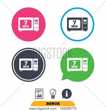Cook in microwave oven sign icon. Heat 7 minutes. Kitchen electric stove symbol. Report document, information sign and light bulb icons. Vector