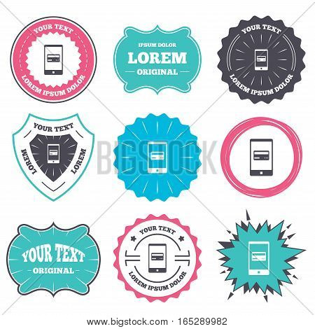 Label and badge templates. Mobile payments icon. Smartphone with credit card symbol. Retro style banners, emblems. Vector