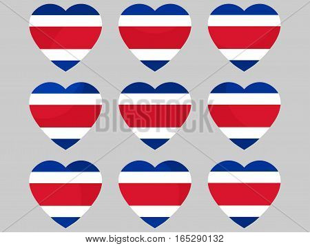 Heart With The Flag Of Costa Rica. I Love Costa Rica. Vector Illustration