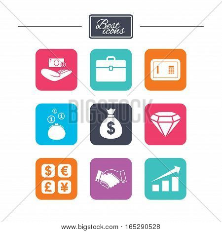Money, cash and finance icons. Handshake, safe and currency exchange signs. Chart, case and jewelry symbols. Colorful flat square buttons with icons. Vector