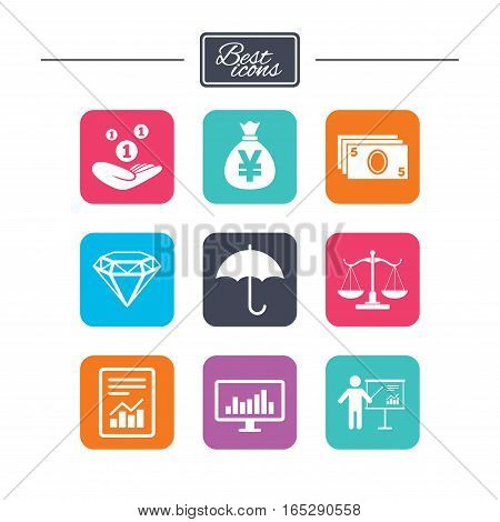 Money, cash and finance icons. Money savings, justice scales and report signs. Presentation, analysis and umbrella symbols. Colorful flat square buttons with icons. Vector