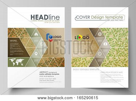 Business templates for brochure, magazine, flyer, booklet or annual report. Cover design template, easy editable vector, abstract flat layout in A4 size. Abstract green color wooden design.Texture with leaves. Spa concept natural pattern in linear style.
