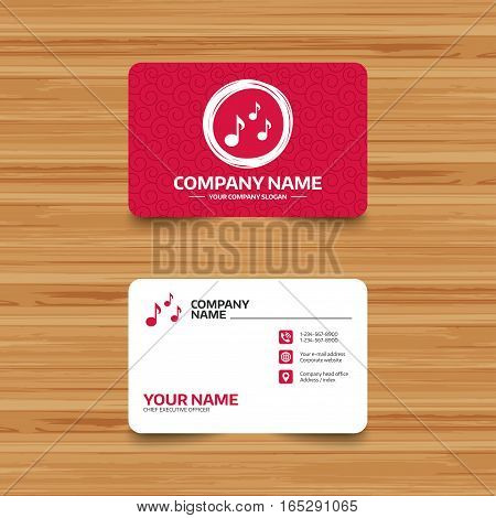 Business card template with texture. Music notes sign icon. Musical symbol. Phone, web and location icons. Visiting card  Vector