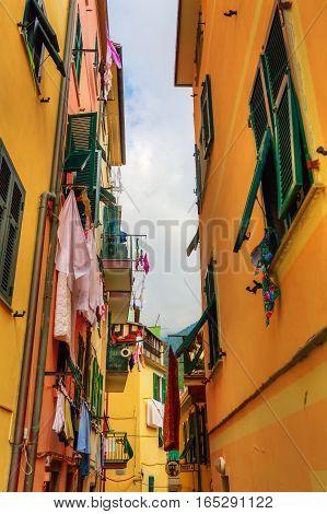 Picturesque Alley In Riomaggiore, Italy
