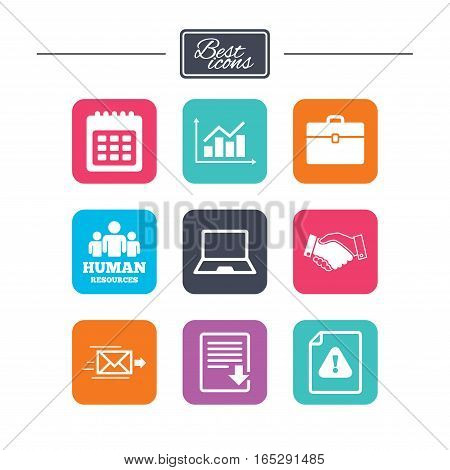 Office, documents and business icons. Human resources, handshake and download signs. Chart, laptop and calendar symbols. Colorful flat square buttons with icons. Vector