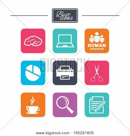 Office, documents and business icons. Human resources, notebook and printer signs. Scissors, magnifier and coffee symbols. Colorful flat square buttons with icons. Vector