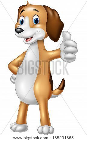 Vector illustration of Cartoon funny dog giving thumbs up