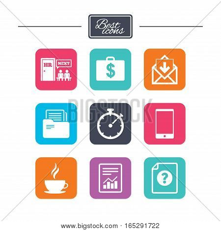 Office, documents and business icons. Accounting, human resources and phone signs. Mail, salary and statistics symbols. Colorful flat square buttons with icons. Vector