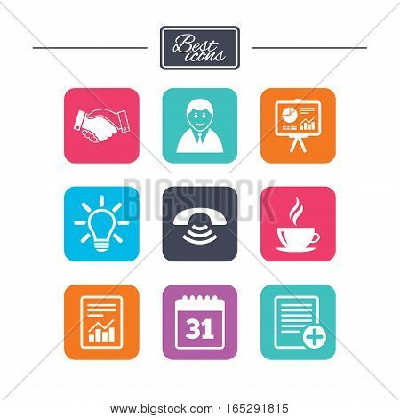 Office, documents and business icons. Businessman, handshake and call signs. Chart, presentation and calendar symbols. Colorful flat square buttons with icons. Vector