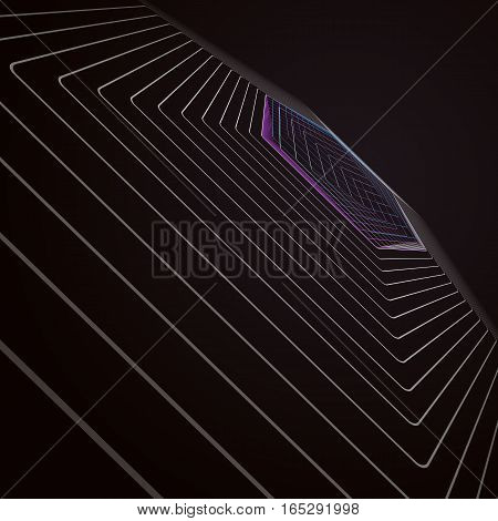 Abstract polygonal background made of hexagons with illusion of depth and perspective. Black color geometric design, hexagonal geometry.