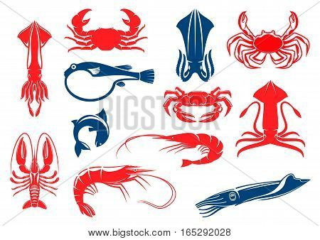 Vector icons of seafood and fish food of shrimp, crab and lobster, squid, salmon or tuna. Vector isolated emblems for sea food restaurant, fish market or shop, oriental cuisine