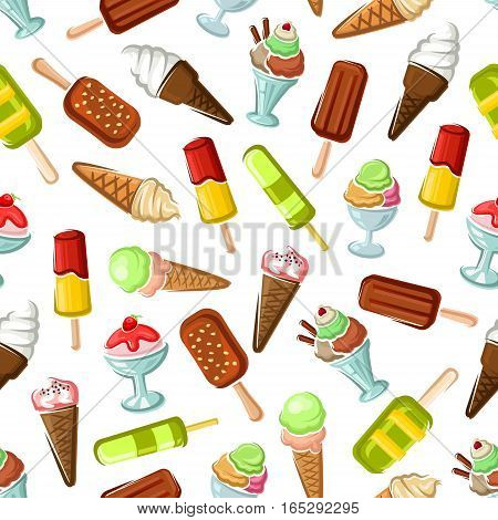 Ice cream pattern. Vector seamless sweet frozen desserts of soft ice cream in wafer cone, glazed eskimo with whipped cream and fruit ice, fruity ice cream with chocolate sundae and fresh vanilla scoops in glass bowl. Vector desserts backdrop