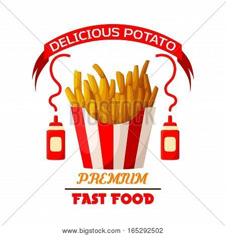 French fries icon. Fast food vector isolated emblem of fried salty potato wedges chips or frites snack in striped paper box, ketchup sauce bottles and red ribbon. Sign or badge for fastfood restaurant takeaway or delivery menu