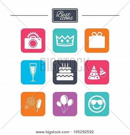 Party celebration, birthday icons. Fireworks, air balloon and champagne glass signs. Gift box, cake and photo camera symbols. Colorful flat square buttons with icons. Vector