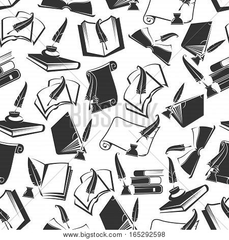 Books and ink quill seamless pattern of vector writing feather fountain pen and ink bottle or inkwell, poetry, knowledge or science items and open university study notebooks and old manuscript scrolls, scientist or poet writing stationery supplies