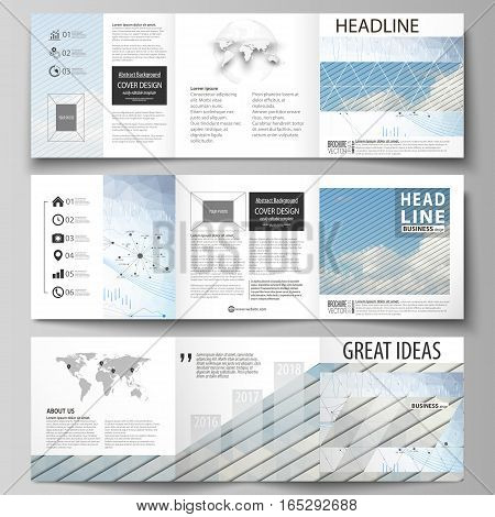 Set of business templates for tri fold square design brochures. Leaflet cover, abstract flat layout, easy editable vector. Blue color abstract infographic background in minimalist style made from lines, symbols, charts, diagrams and other elements.