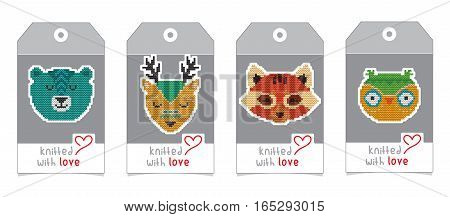 Collection of gift tags with knitted animal portraits. Set of badge design with knitting cartoon characters - bear, deer, red panda, owl
