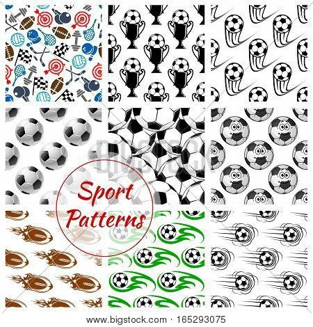 Sport patterns of soccer and rugby balls and sports gaming items of volleyball and basketball, bowling and tennis rackets, ice skates, darts and hockey puck with clubs, fitness dumbbells and checkered flag. Vector seamless set