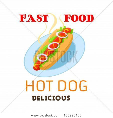 Hot dog vector emblem. Fast food meal or snack of grilled hot sausage in buns with onion vegetables and sauce mustard or ketchup on plate. Fastfood restaurant delivery or takeaway isolated sign