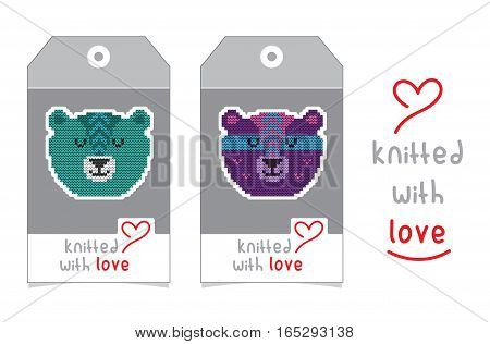 Collection of gift tags with knitted animal portraits. Set of two badge design with knitting cartoon characters