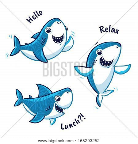 Blue shark cartoon characters with text - hello, relax, lunch. Vector illustration