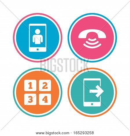 Phone icons. Smartphone video call sign. Call center support symbol. Cellphone keyboard symbol. Colored circle buttons. Vector