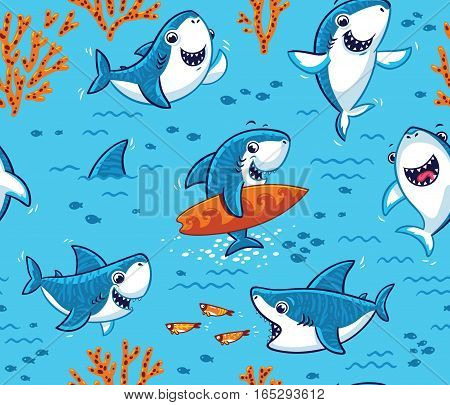 Vector seamless underwater pattern with cute cartoon sharks