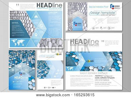 Social media posts set. Business templates. Easy editable abstract flat design template, vector layouts in popular formats. Blue and gray color hexagons in perspective. Abstract polygonal style modern background.
