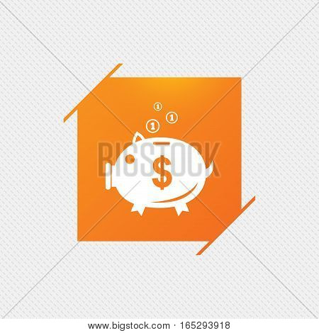 Piggy bank sign icon. Moneybox dollar symbol. Orange square label on pattern. Vector