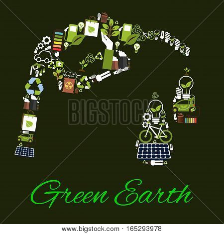 Environment ecology and nature protection poster of bio fuel gasoline drops symbol. Conceptual planet conservation and pollution prevention idea of recycling items electric lamp, water, car and bicycle, green energy sources and solar panel