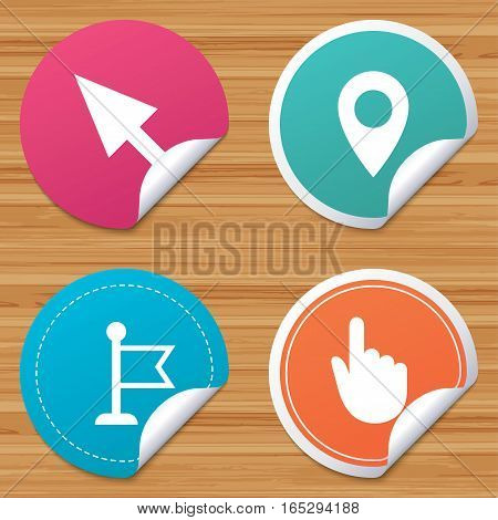 Round stickers or website banners. Mouse cursor icon. Hand or Flag pointer symbols. Map location marker sign. Circle badges with bended corner. Vector