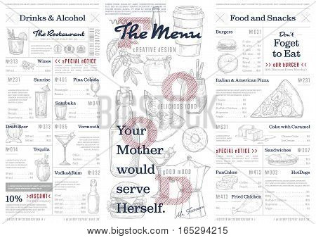 Restaurant or cafe menu vintage vector illustration. Desserts brochure, sweet pastry and ice cream, cafe menu design. Identity restaurant menu with hand drawn food and drink graphic. Food menu template. Layout of restaurant menu board with food and drink