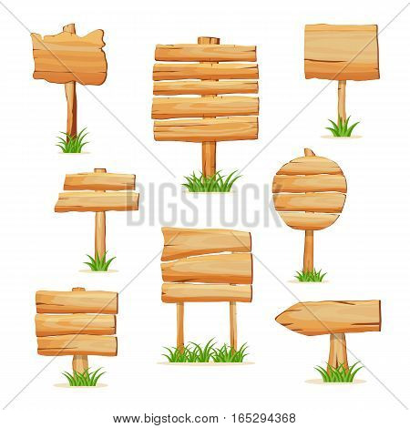 Wooden sign standing in grass on white background vector illustration. Round, square and arrow shapes blank wooden sign board for message. Cartoon style wooden signpost collection. Wooden sign set. Isolated wooden sign with different form.