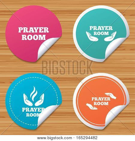 Round stickers or website banners. Prayer room icons. Religion priest faith symbols. Pray with hands. Circle badges with bended corner. Vector