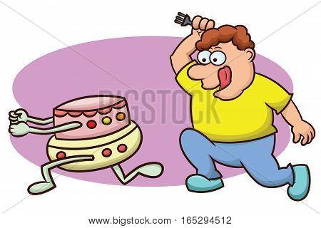 Fat Man Chasing Running Cake Cartoon Illustration