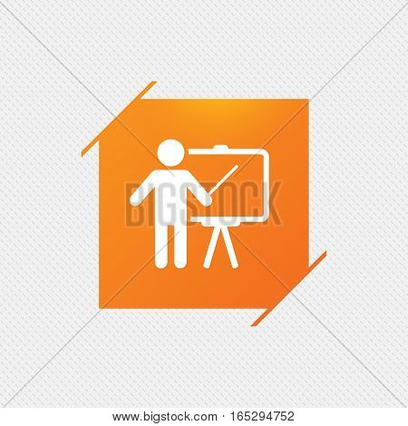 Presentation sign icon. Man standing with pointer. Blank empty billboard symbol. Orange square label on pattern. Vector